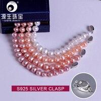 YS 8 9mm Freshwater Pearl 925 Sterling Silver Bracelets Fine Jewelry for Women