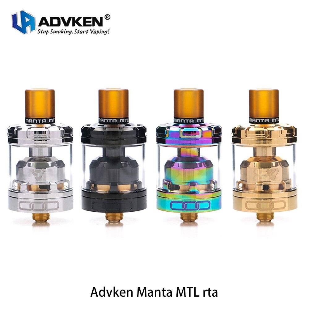 El más nuevo Original Advken Manta MTL RTA 24mm super bobina única de Manta RTA tanque con 3 ml capacidad oro- en cubierta para e cig caja mod