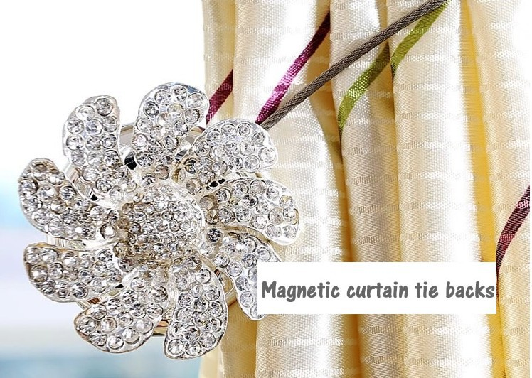 Bling Magnetic Curtain Tieback Rhinestone Sliver Holdbacks 2pcs Lot Decoration Clip Diy Accessory Tie String Free Shipping In Decorative