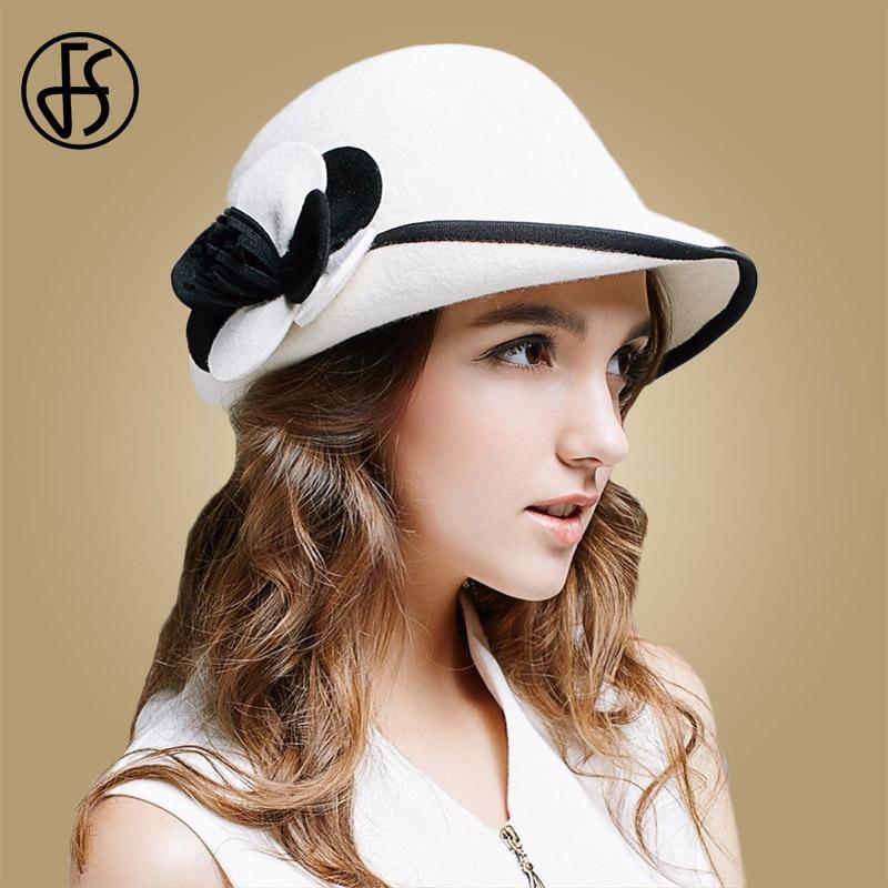 FS 2018 Winter White Wool Hat Women Felt Bowler Fedora Elegant Flower Wide  Brim Cloche Ladies bf96e190326a