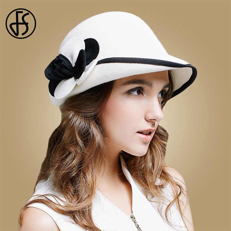 63dbdef863e194 FS 2018 Winter White Wool Hat Women Felt Bowler Fedora Elegant Flower Wide  Brim Cloche Ladies