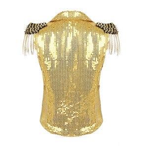 Image 2 - Женский жилет с блестками и воротником TiaoBug, праздничный жилет с кисточками, смокинг, костюм для выступлений, джазовых танцев