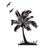 Flying Bird And Palm Tree Wall Sticker For Living Room Seaside Scenery Bathroom Home Decor DIY
