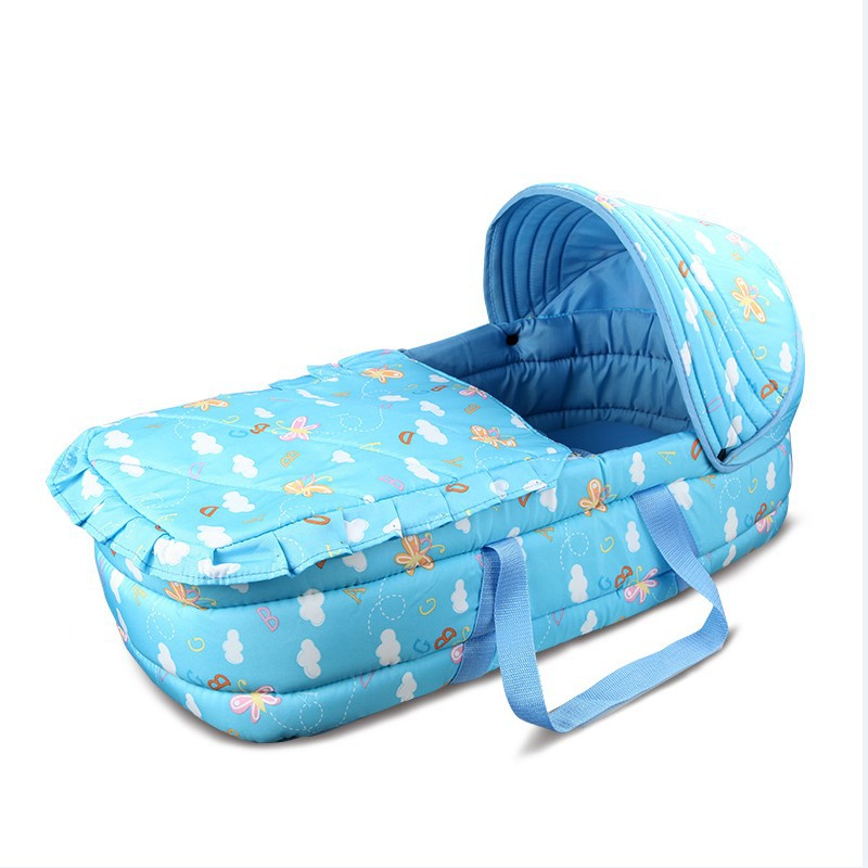 Baby Portable Travel Cot ,Newborn Baby Carry Cot, Baby Co-sleeper,Basket-type Baby Travel Bed,Car Crib Warm Windproof Shading