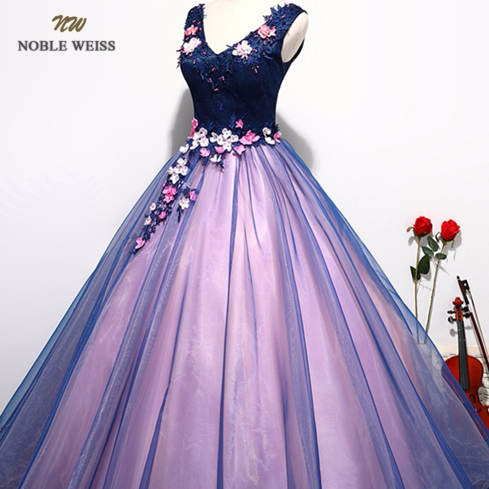 NOBLE WEISS Sexy Purple Prom Dresses V Neck Appliques Beading Flower Lace Robe De Soiree Ball Gown Organza Bare Back Prom Dress-in Prom Dresses from Weddings & Events    3