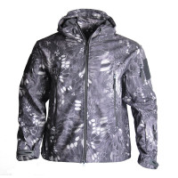 Camouflage Military Softshell TAD Jacket Tactical Camping Hiking Jacket Men's Hooded Fleece Coat