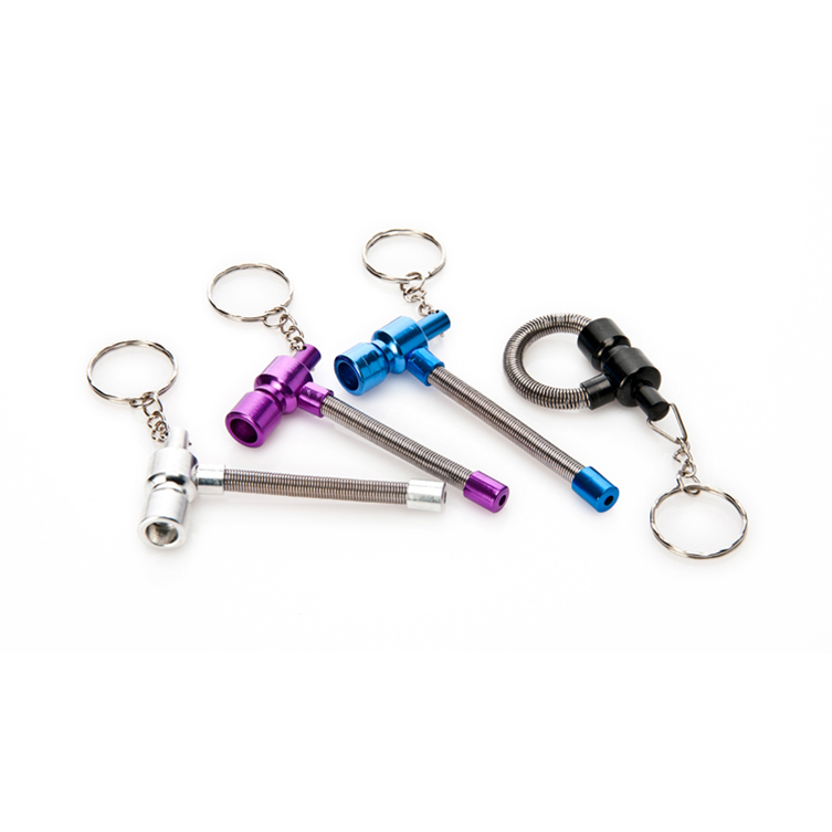 4Pcs/lot Metal Key Chain Spring Tobacco Pipe Mini Cigarette Holder - Household Merchandises - Photo 2