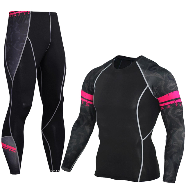 2pcs/Sets Long T Shirt+Pants Men's Morning Run Jogging Workout Compression Clothing Extreme Sports Gym Men's Tights MMA BJJ Tops