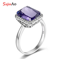 Szjinao custom sterling silver 925 ring with diamond Amethyst February Birthstone Crystal vintage jewelry for women accessories