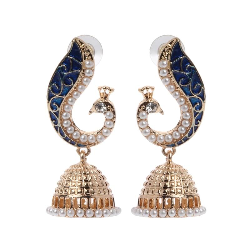 e9ffe5b69 New Fashion Retro Indian Bollywood Kundan Peacock Jhumka Jhumki Drop  Earrings Gypsy Jewelry Jewelry Accessory