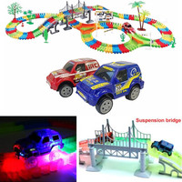 Funny Joy Miraculous Glowing Race Track Bend Flex Flash In The Dark Assembly Car Toy 165