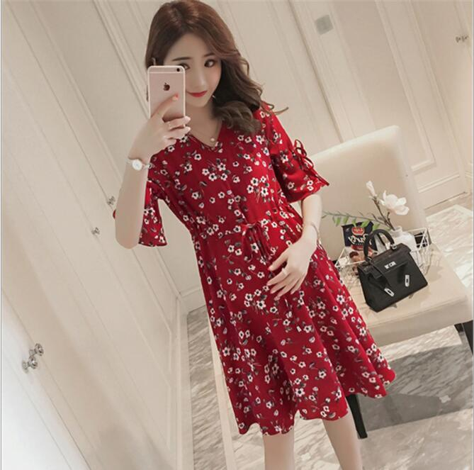 Chiffon Pregnant Women Dress Summer Pregnancy Clothes Loose Plus Size Maternity Dresses Gravid clothing flowers outdoor wear