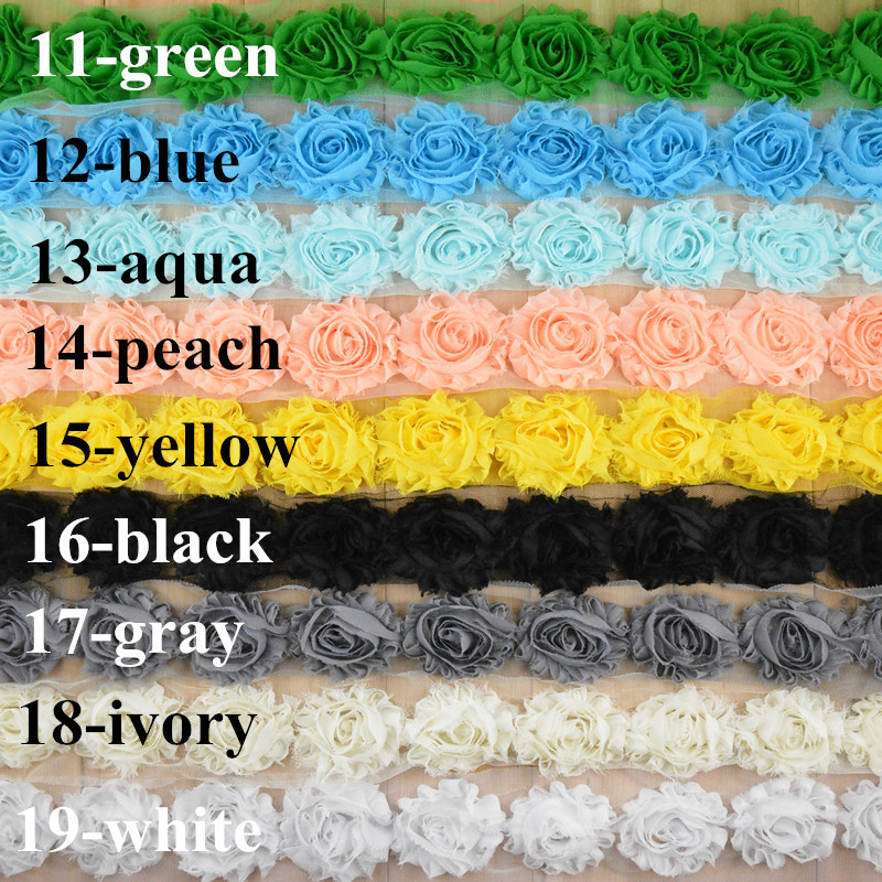 30 yards lot shabby chiffon flowers you pick colors wholesale bulk