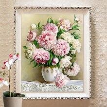 Bordado, diy ponto cruz, conjuntos para kits de bordados completos, vaso de mesa lírio peônia floral flor estampado padrão contado ponto cruz
