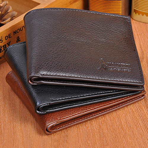 Men's Short Faux Leather Wallet Card Holder Coin Purse Pocket Bifold