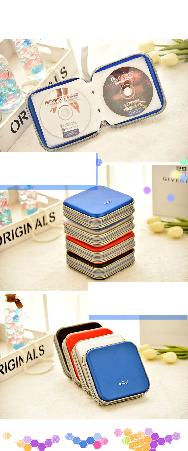 RACAHOO-CD-Case-High-Quality-Waterproof-Compression-CD-Package-40-Disc-Capacity-For-Home-Office-And-Car-Storage-CD-Bag3