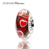 ATHENAIE Genuine Murano Glass 925 Silver Core Wandering Hearts Charm Bead Fit All European Bracelets Gift