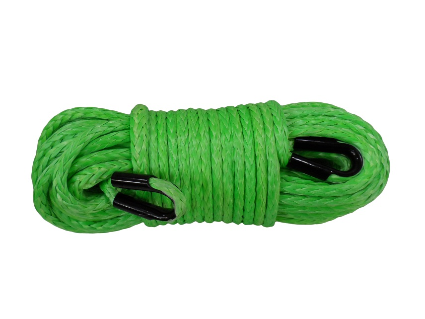 12mm*45m Green Synthetic Winch Rope,Winch Rope Extension,ATV Winch Cable with Tube Thimbles,Towing Rope for Offroad