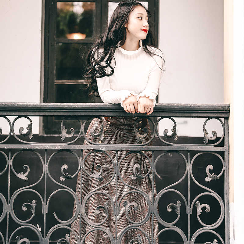 Винтаж Англия Стиль элегантное вязаное платье из двух частей Для женщин; комплект из 2 предметов свитер корсет на шнуровке с высокой талией макси юбка в комплекте с набором подходящих сумочек