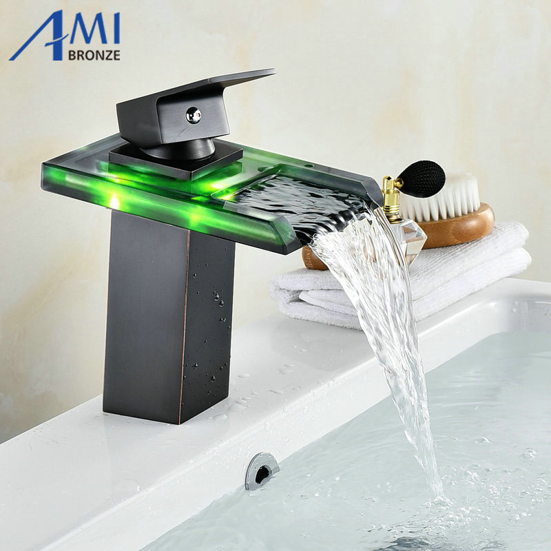Black Water Powered LED Faucet Bathroom Basin Faucet Brass Mixer Tap Waterfall Faucets Hot Cold Crane Basin Tap flg basin faucets modern orb bathroom faucet waterfall faucets single hole cold and hot water tap basin faucet mixer taps