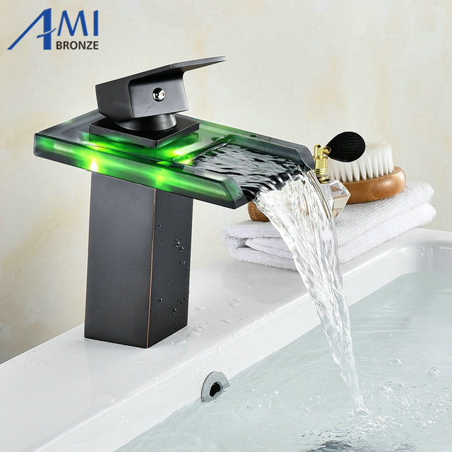 Black Water Powered LED Faucet Bathroom Basin Faucet Brass Mixer Tap Waterfall  Faucets Hot Cold Crane