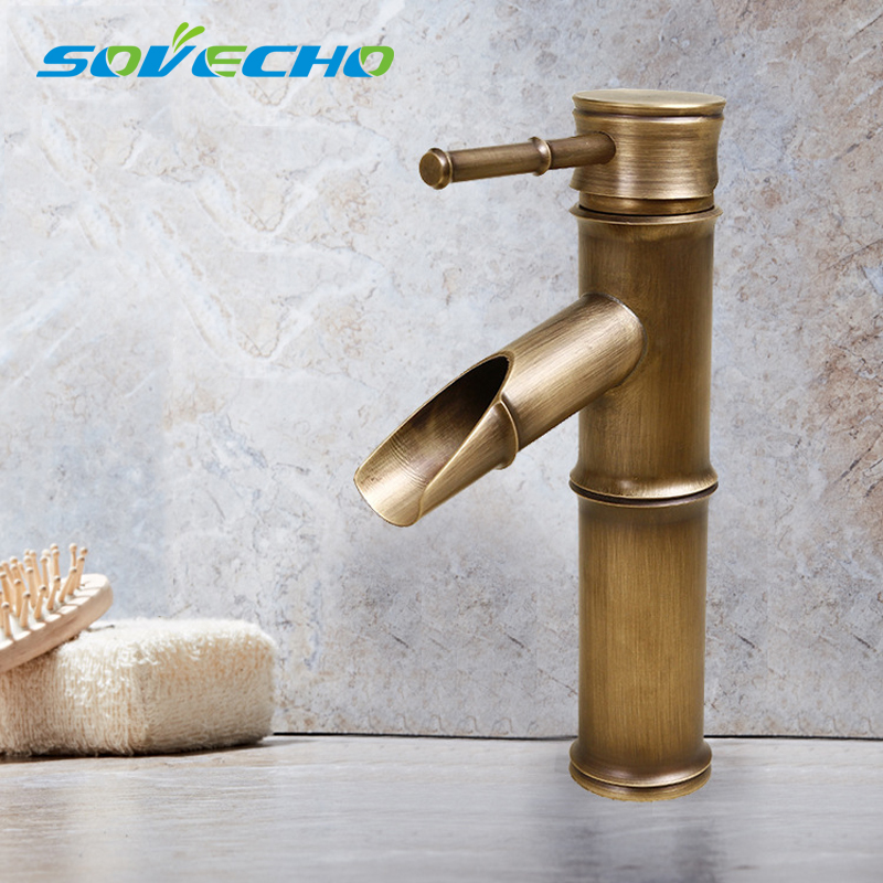 Bamboo Bathroom Faucet Antique bronze finish Brass Basin Sink Faucet Single Handle Bamboo Water TapBamboo Bathroom Faucet Antique bronze finish Brass Basin Sink Faucet Single Handle Bamboo Water Tap