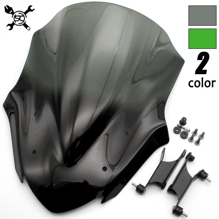 Motorcycle Black WindScreen Windshield Viser VIsor New Style Fits For Kawasaki Z900 2017 Double Bubble