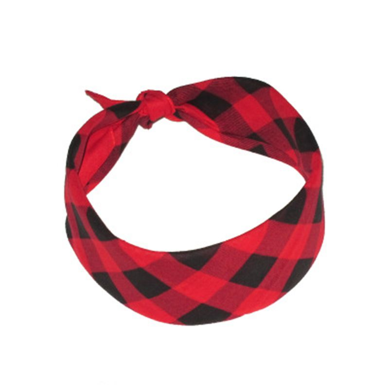 55x55cm Three Colors Plaid Grid Printing Square Bandana Unisex Retro Style Sport Headband Multifunction Neck Tie Scarf Hair Wra