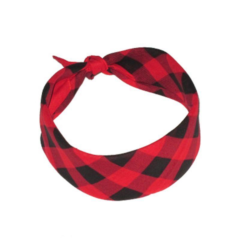 55x55cm Three Colors Plaid Grid Printing Square Bandana Unisex Retro Style Sport Headband Multifunction Neck Tie Scarf Hair Wra