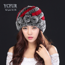 YCFUR Hot Sales Women's Hats Winter 2016 Handmade Knitted Natural Rex Rabbit Fur Beanies With Fur Flowers Braid Hat Female