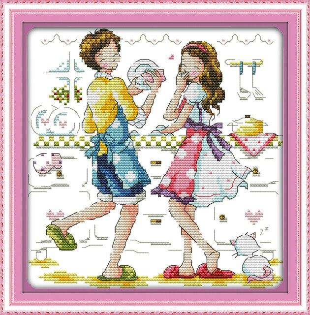 Cucina Amante Contati Stampata Su Tessuto Dmc 14ct 11ct Kit Punto