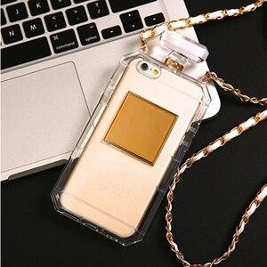 Image 3 - For iPhoneX XR XS 6s 7 8Plus 11 12 Pro MAX Luxury Perfume Bottle TPU Soft Phone Case Handbag With Chain Phone Back Cover Fundas