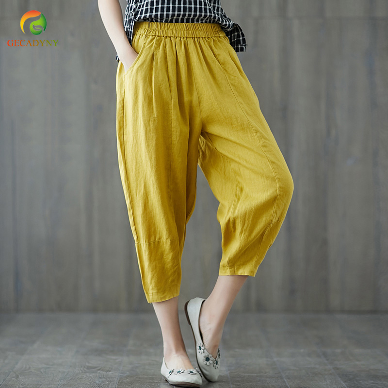 Harem   Pants   Capris Women 2019 Summer High Waist Loose Candy Color Cotton Linen   Wide     Leg     Pants   Female Trousers