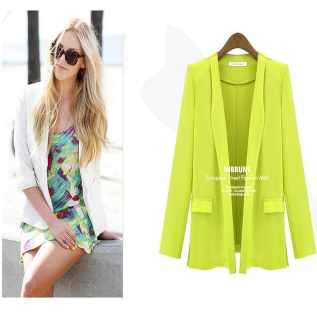 Blazer Women 2015 Autumn Candy Color Rolled up Sleeve Boyfriend Style No-buckle Blazer Feminino Slim Blazer Jackets Outwear