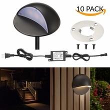 10 pièces 50mm 12 V 1.6 W IP67 noir demi lune extérieur jardin cour voie plinthe coin LED pont escaliers étape clôture poteau lumières Kit