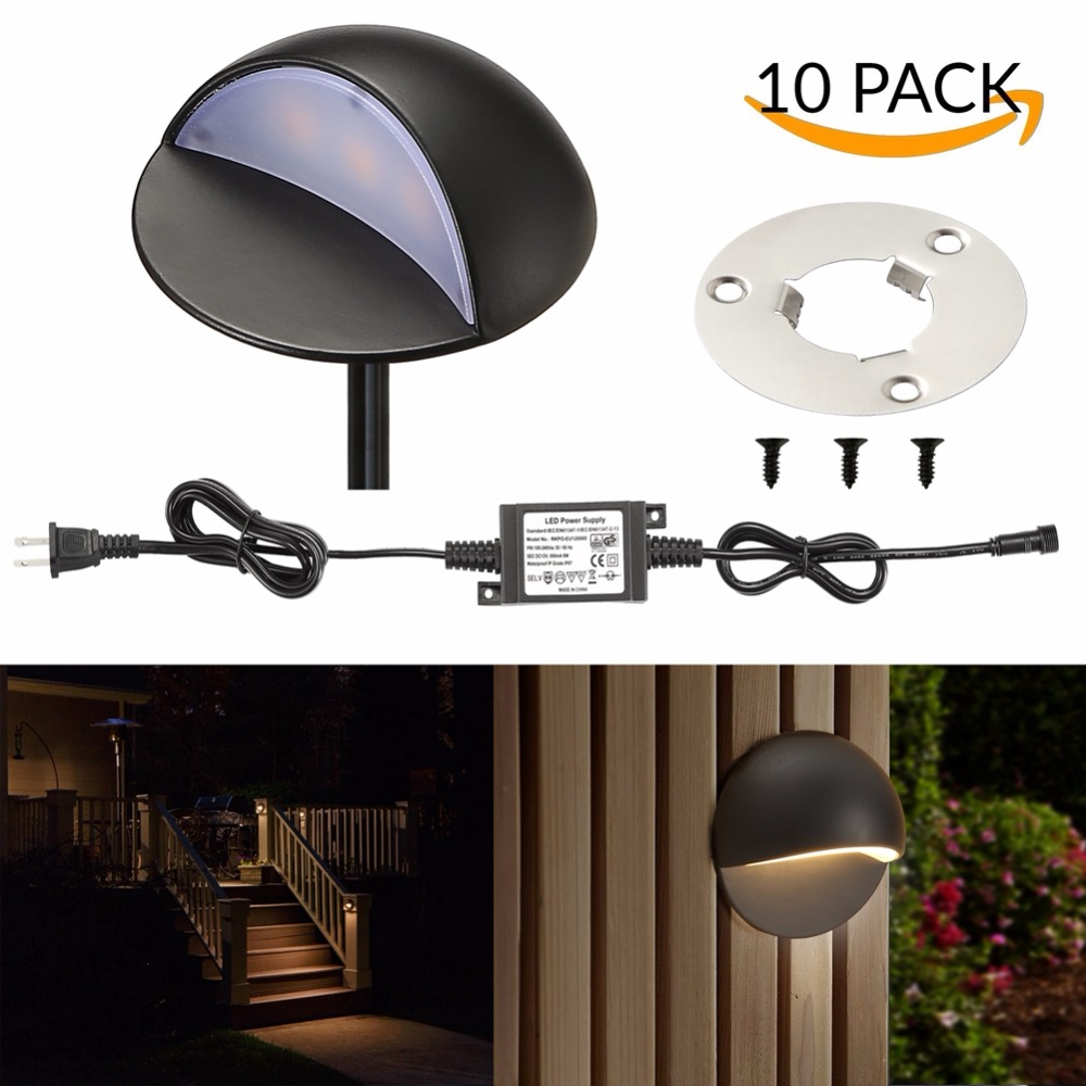 10Pcs 50mm 12V 1.6W IP67 Black Half Moon Outdoor Garden Yard Pathway Plinth Corner LED Deck Stairs Step Fence Post Lights Kit-in LED Underground Lamps from Lights & Lighting