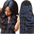 Hot Sale Synthetic Body Wave Wig With Baby Hair For Black Women Middle Part Heat Resistant Synthetic Lace Front Wig/ No Lace Wig