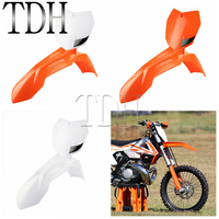 Motorcycle Front Fender + Front Number Plate Motocross Enduro Supermoto Dirt Bike For KTM XC SX SX F EXC F XC W 150 200 350 500