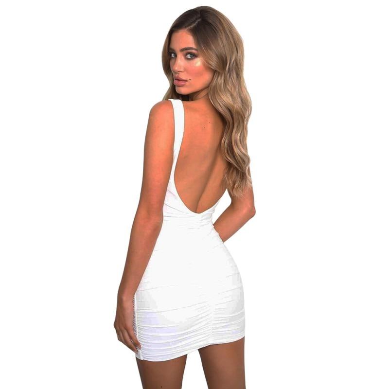 Backless Dress Elegant Women Mini Dress Sexy V Neck Sleeveless Red White Nightclub Bodycon Dresses