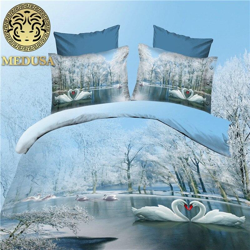 3d oiseaux ensemble de lit housse de couette drap de lit taies d'oreiller reine taille ensemble de linge de lit