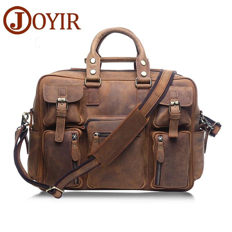 JOYIR Bolsos de diseño de alta calidad de cuero genuino bolsa de viaje de los hombres bolsas de viaje de equipaje de la vendimia bolsa de lona grande fin de semana bag6025