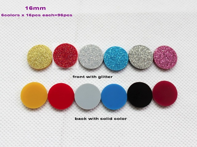 6colors 96pcs Lot 16mm Orted Giltter Colors Discs Acrylic Stud Earring Circle