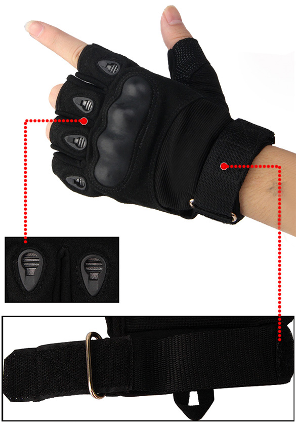 ANCHEER Outdoor Sports Fingerless Half Finger Gloves Military Tactical Airsoft Hunting Riding Game Bike Cycling Gloves