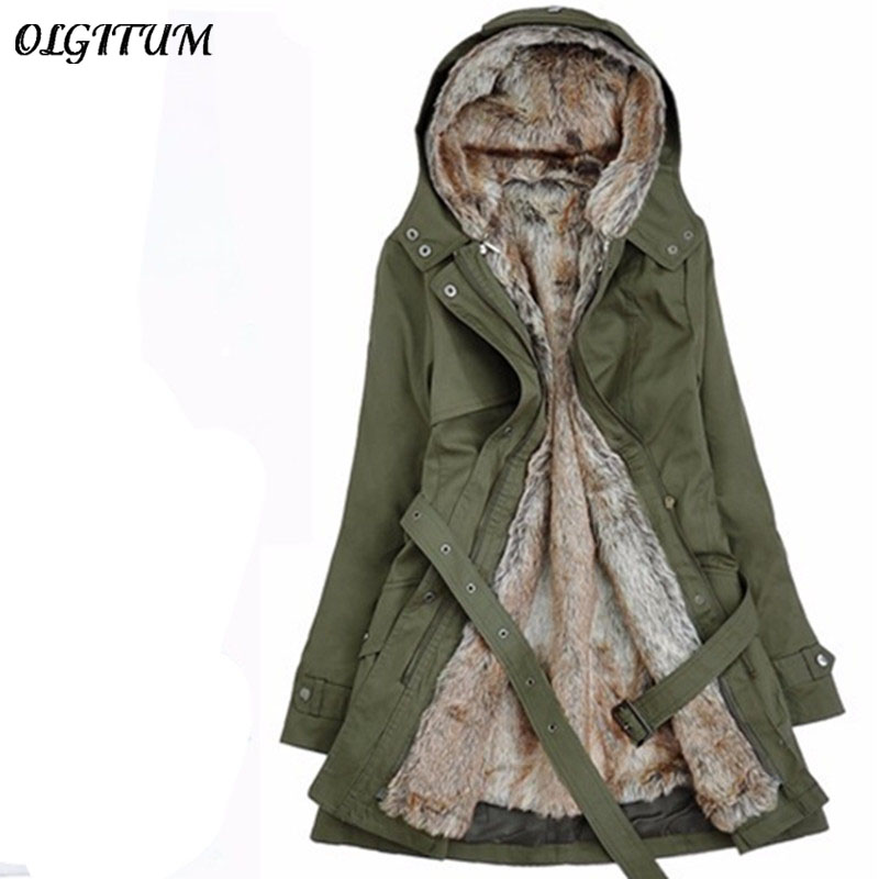 2018 Autumn Thick Faux fur lining women s winter plush liner windbreaker jacket and long sections