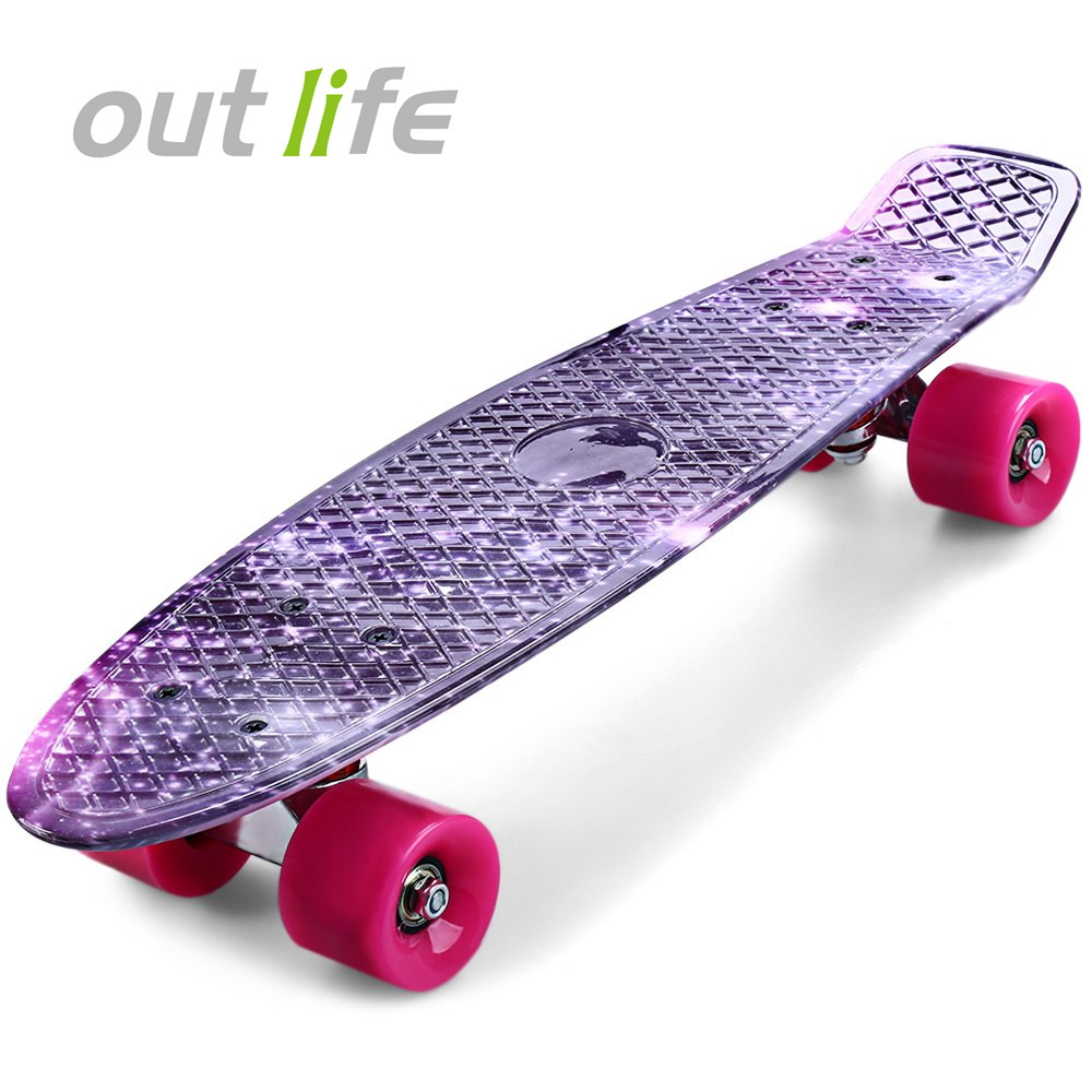 Outlife 22 pouce Longue Planche D'impression Pourpre Graffiti Skate Board Ciel Étoilé Motif Rétro Planche À Roulettes Longboard Mini Cruiser