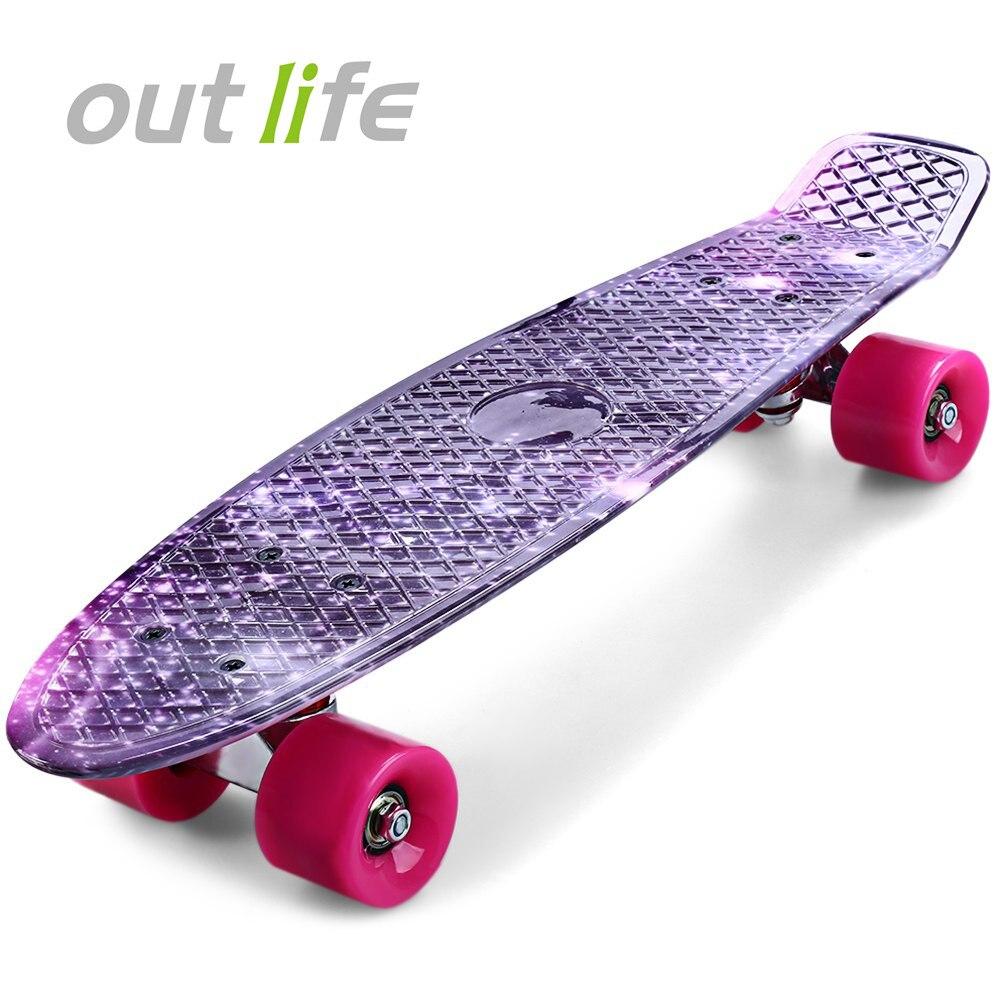 Outlife 22 pouces Long conseil impression violet Graffiti planche à roulettes ciel étoilé modèle rétro planche à roulettes Longboard Mini Cruiser