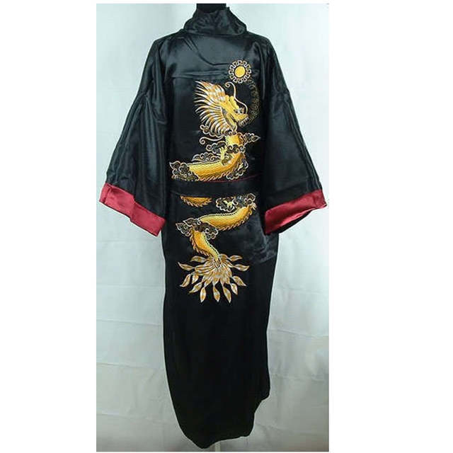 Burgundy Black Chinese Men s Satin Robe Gown Novelty Reversible Nightwear  Embroidery Two-Sided Casual Bathrobe 1de737c7d