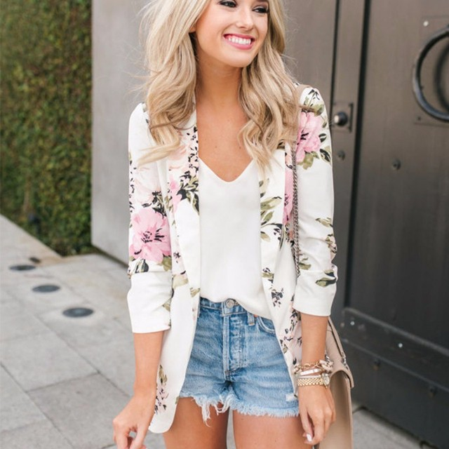 DeRuiLaDy New Women Long Sleeve Elegant Floral Print Slim Blazer Casual Pocket Tops Female Autumn Winter Suit Blazers Coat