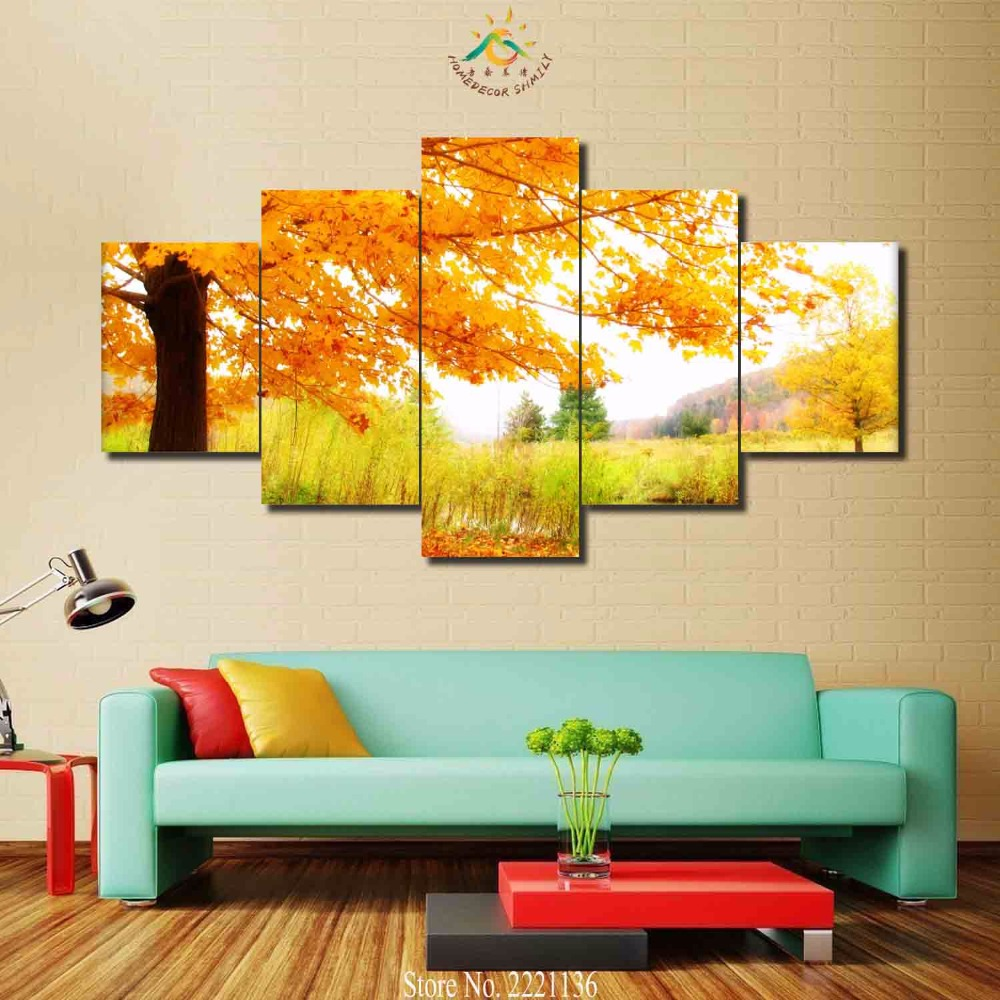 3 4 5 panels/set Autumn leaves are yellow Modern Home Wall Decor ...