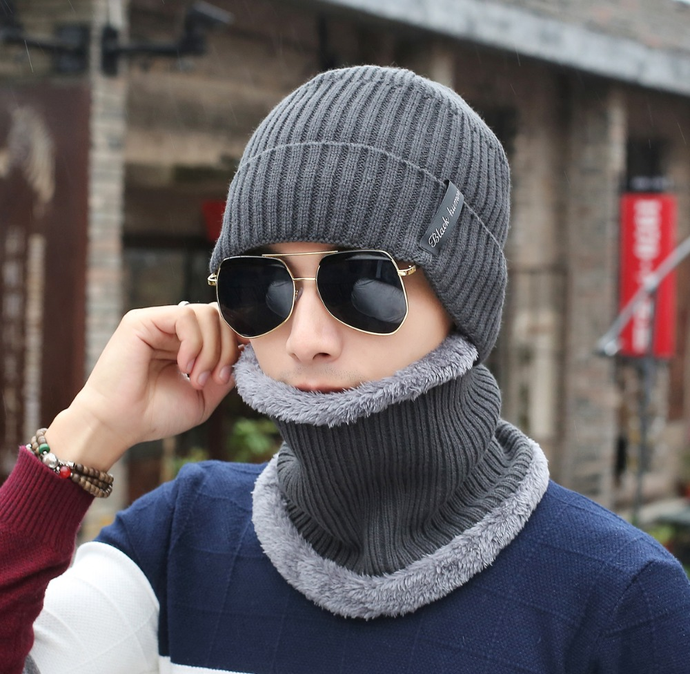 2018 hot selling 2pcs ski cap and scarf cold warm leather winter hat for women men Knitted hat Bonnet Warm Cap Skullies Beanies